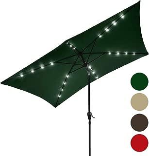 Yescom 10x6.5ft Solar Patio Umbrella 20 LED Lighted Outdoor Rectangle Table Market Aluminium Umbrella Crank Tilt Green