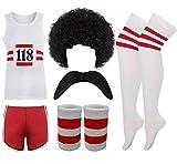 New 118, abbigliamento retròdonna e uomo, costume da travestimento, maratona addio al celibato, completo, parrucca, baffi, polsini
