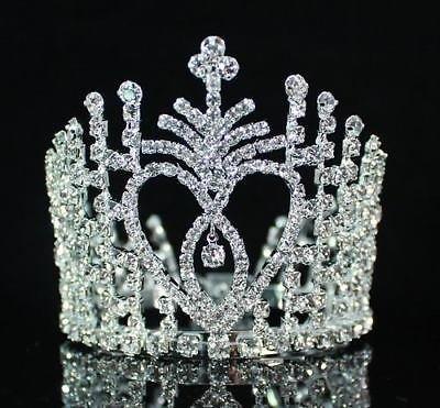 Janefashions Cake Topper Clear Austrian Rhinestone Crystal Hair Bun Tiara Mini Crown Wed M515