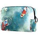 Bolsa de cosméticos Bolsa de Maquillaje Grande Bolsa con Cremallera Bolsa de Aseo Organizador portátil de cosméticos de Viaje Símbolo japonés de Pescado en el Estanque para Mujeres y niñas