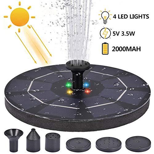 Neckip Solar Springbrunnen mit 4 LED-Lichtern - 3.5W 5V Solar Teichpumpe mit 6 Fontänendüsen - für Garten, Pool, Vogel-Bad, Fisch-Behälter, Kleiner Teich, Gartendekoration