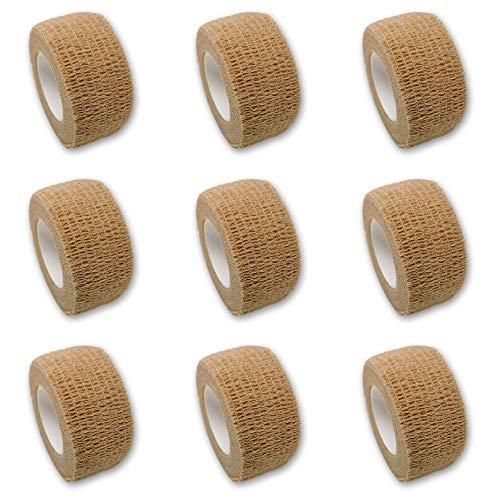 9er-Set Fingerverband | Pflasterverband | Pflaster ohne Kleber - in BEIGE - 2,5cm x 4,5m - elastisch, wasserabweisend, kohäsiv