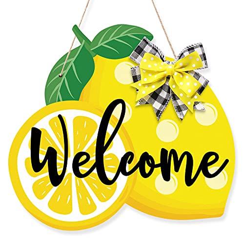 Huray Rayho Lemon Welcome Door Sign Summer Wooden Front Door Hanger, Home Porch Hanging Decor, Fresh...