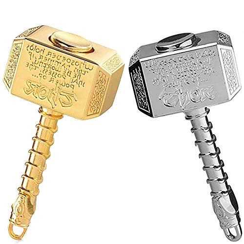 Mjolnir Hammer Fidget Spinner Metall, Thors Battle Hammer Fidgit Finger Hand Spinner, Fidget Cube Block ADHD EDC Anti Angstspielzeug Fokus Fidget Toys Fingertip Gyro Stress Relief Geschenke für Kinder Erwachsene