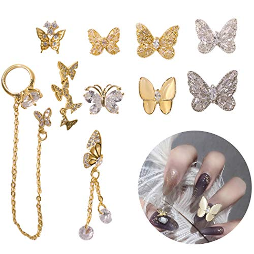 10 PCS Nail Charme Mode Papillon Chaîne Nail Gem Nail Strass Nail Bijoux