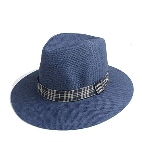 XinQuan Wang 2019 Fashion zonnehoed Straw zomer effen kleur Wide doek Strip Decoratie Ladies Hat Straw Hat Panama Sombrero Beach Holiday Hat Visor (Color : Blue, Size : 56-58cm)