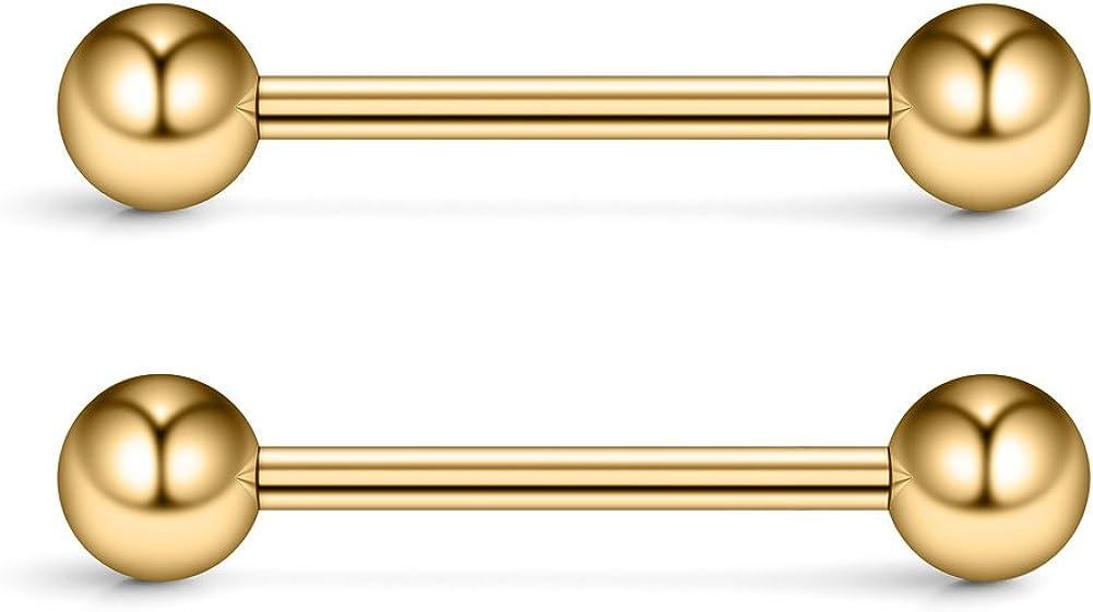 Ruifan 316L Stainless Steel Nipple Shield Barbell Ring Bar Body Piercing 14G 2-12PCS