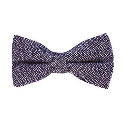 DonDon DonDon Herren Fliege 12 x 6 cm Fischgrät-Muster gebunden und stufenlos justierbar aus Baumwolle im Tweed Style blau
