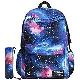 Global I Mall - Mochila escolar unisex de lona Galaxy, para llevar libros, el portátil o hacer senderismo Galaxy Blue