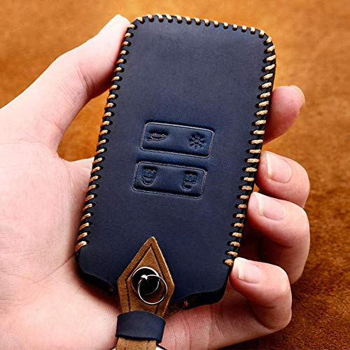 YUFFD Smart Remote Fob Shell Cover Fundas de cuero genuino para llaves de coche, para Renault Clio Talisman Megane Kadjar Captur KoleosBlue