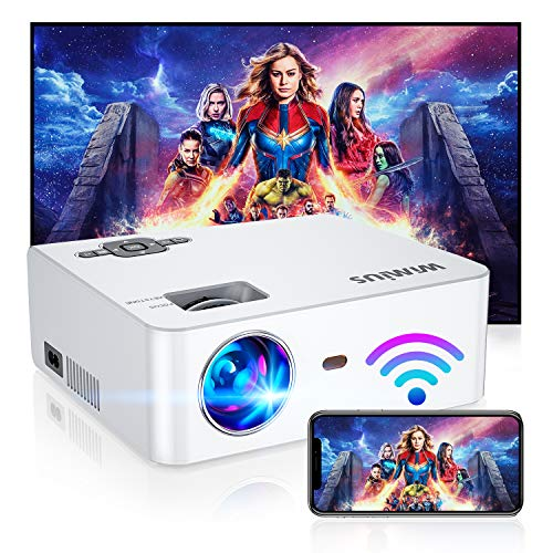"""WiFi Projector, New WiMiUS S2 Portable Mini Projector w/ 6000 Brightness High Contrast Lumens & 5W HiFi Speaker, Support 1080P and 300"""" Screen, Compatible w/ Laptop, iPhone, Android, Fire TV Stick"""