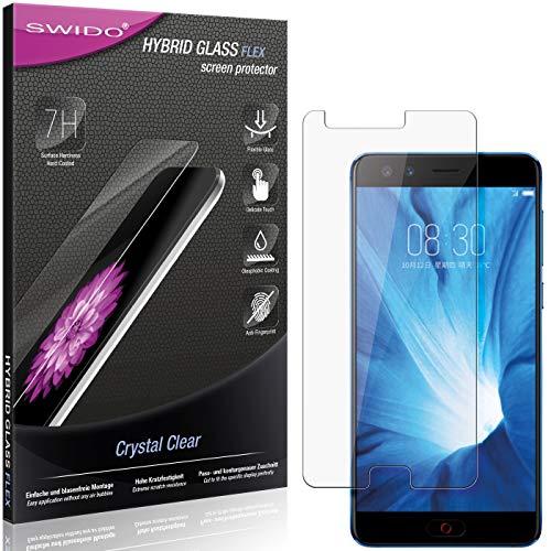 SWIDO Panzerglas Schutzfolie kompatibel mit Nubia Z17 Mini S Bildschirmschutz-Folie & Glas = biegsames HYBRIDGLAS, splitterfrei, Anti-Fingerprint KLAR - HD-Clear