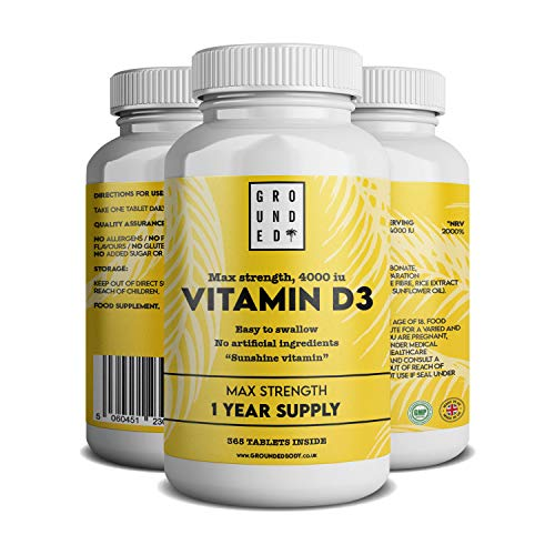 Vitamin D 4000iu Tablets - 365 Day Supply- Easy to Swallow Small Max Strength Tablets. Vitamin D3 Cholecalciferol- Made in The UK