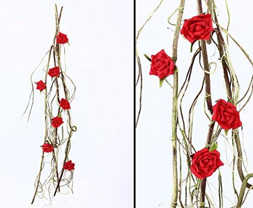 Artificial Rosa Guirnalda con 7rojas flores 140cm de largo–planta artificial flores artificiales flores artificiales (Flores sträuße, seda artificial flores o flores de plástico Plástico