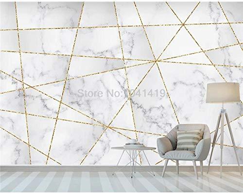 ZGHONG aangepaste muurbehang moderne eenvoudige geometrie gouden lijn marmer patroon foto behang woonkamer TV bank slaapkamer muur papieren 300x210 cm (118.1 by 82.7 in) 300x210 Cm (118.1 Door 82.7 In)