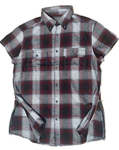 Maroon/Black/Grey Fear of God inspired Short Sleeve Flannel w/ Side Zippers