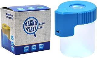 Honeypuff Plastic&Glass Light-Up LED Air Tight Transparent Storage Magnifying Viewing Jar (Scrub, Blue)