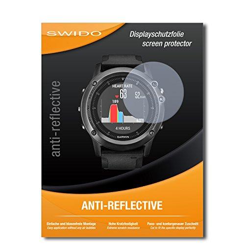 SWIDO Schutzfolie für Garmin Fenix 3 Saphir HR [2 Stück] Anti-Reflex MATT Entspiegelnd, Hoher Festigkeitgrad, Schutz vor Kratzer/Bildschirmschutz, Bildschirmschutzfolie, Panzerglas-Folie