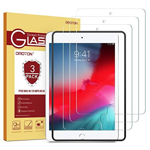 OMOTON [3 Stück] Panzerglas Schutzfolie für das Neue iPad Mini 5 2019 & iPad Mini 4, iPad Mini 5 Schutzfolie mit Schablone,9H Festigkeit, Anti-Kratzer, Anti-Öl,Anti-Bläschen