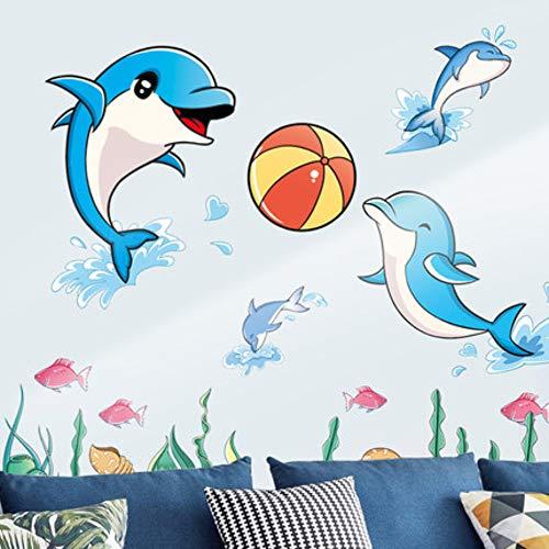 Leuke Cartoon Dolfijn Muurstickers Badkamer Kinderkamer Muurstickers Kleuterschool Zwembad Muurdecoratie Verwijderbaar
