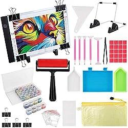 top 10 diamond painting kits (59 PCS) A4 LED diamond painting kit, DIY dimming board, LED art craft …