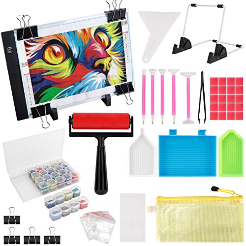 (159PCS) Diamond Painting A4 LED Light Pad Kit,DIY Dimmable Light Brightness Board,LED Artcraft Tracing Light Table,Reusable A4 Painting Pads Great for Full Drill & Partial Drill 5D Diamond Painting.