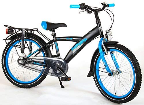 .Thombike City Kinderfahrrad Jungen 20 Zoll Shimano Nexus 3-Gang-Getriebe Gepäckträger Schwarz Blau 95% Zusammengebaut