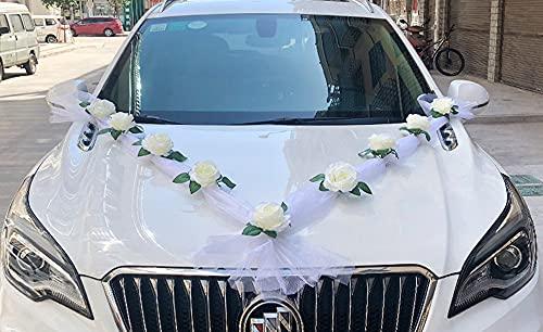 Arrogant Decoración delantera para el coche de boda de flores para la parte delantera, juego de diseño de coche de boda que no daña la pintura (color blanco)