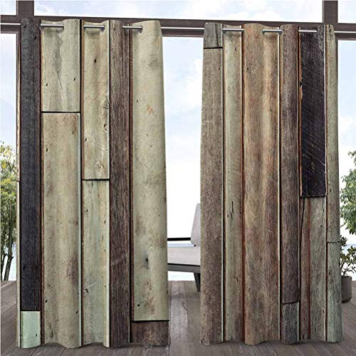 112' W by 95' L(K284cm x G241cm) Wooden Patio Outdoor Curtain for Outdoor Pergola/Patio/Balcony Antique Old Planks Flooring Wall Picture American Style Western Rustic Panel Graphic Print