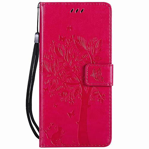 Hancda - Funda para Xiaomi Mi A3 Lite, de piel, con cierre magnético, Hülle Rose Rot