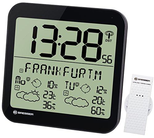 Bresser große LCD Wetterstation Funkuhr Wanduhr mit 4 Tage und Nächte Wettervorhersage und 6cm großen Uhrzeitziffern für Wand und Standmontage inklusive Außensensor, schwarz
