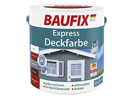 Express Deckfarbe 2 in 1 Lack & Grundierung Holz Putz Mauerwerk innen außen (skandinavisch rot)