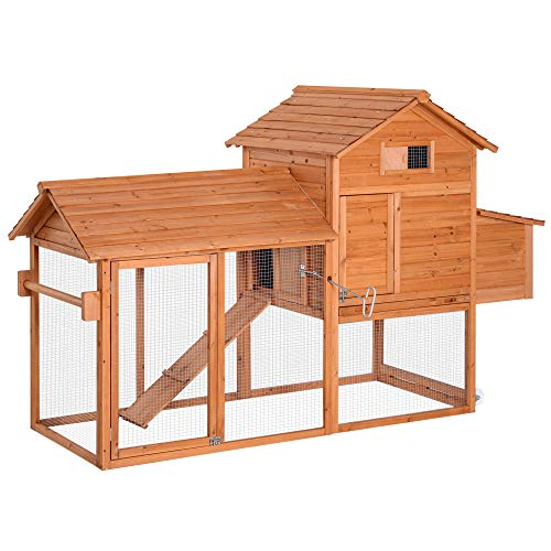 "PawHut 83"" Wooden Portable Backyard Chicken Coop With Fenced Run"