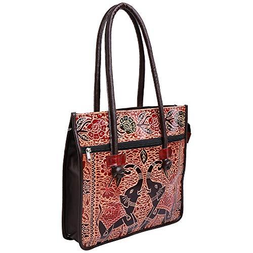 Lonika Leder-Handtaschen für Damen, Vintage, lässig, Schultertaschen für Damen, Hobo-Tasche, Geldbörse, groß, mit Elefant, Schwarz - Schwarz - Größe: Large