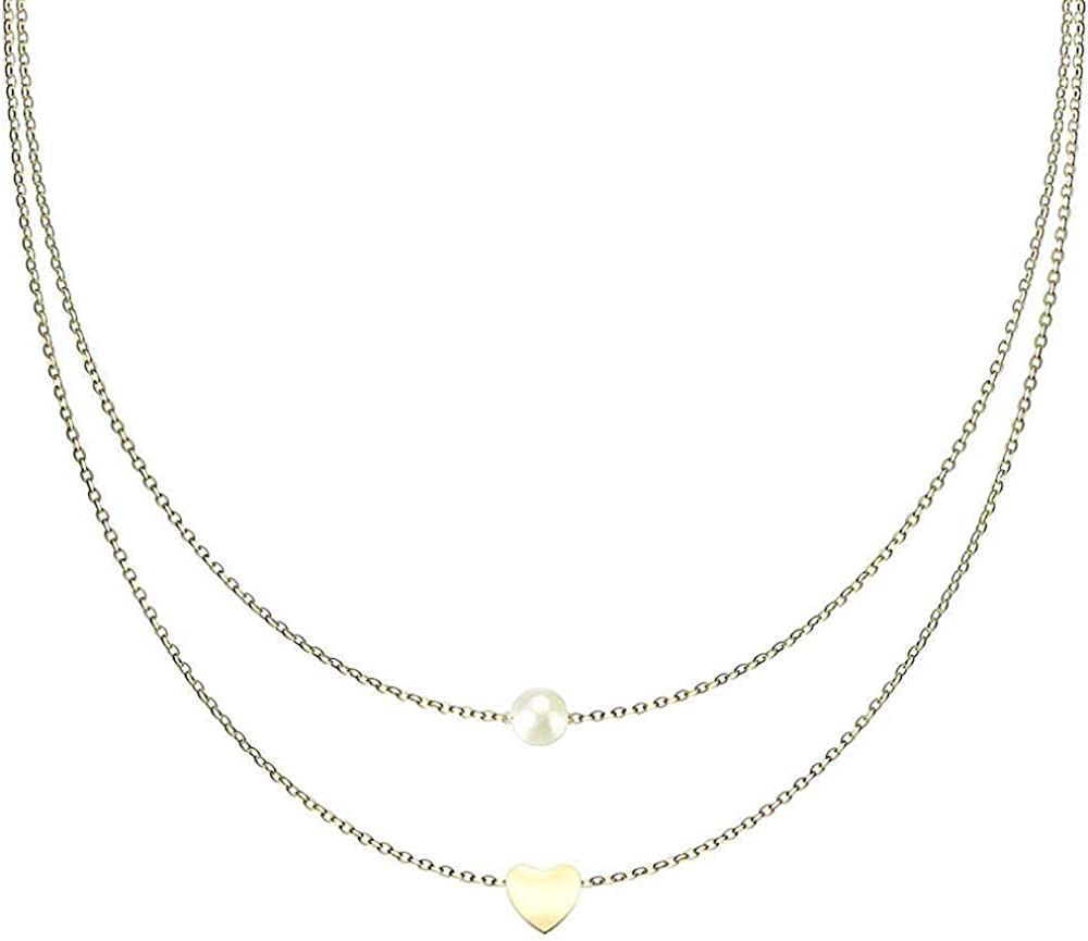 Covet Jewelry Pearl and Heart Pendant on Double Layered Stainless Steel Chain Necklace
