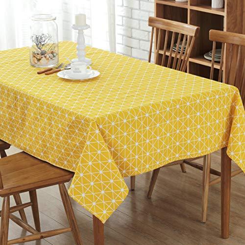 YISHU Abwaschbar Tischdecke Eckig Lotuseffekt Wasserdicht Segeltuch Tischtuch Fleckschutz Pflegeleicht Schmutzabweisend Tischwäsche gelb 140 * 180cm