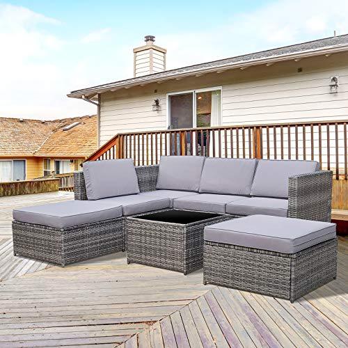 Outsunny 7-TLG. Polyrattan Gartengarnitur Gartenmöbel Garten-Set Sitzgruppe Loungeset Loungemöbel inkl. Fußhocker Sitzkissen Grau Stahl + Polyester 58 x 58 x 37 cm - 2