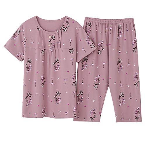 DFDLNL Verano de algodón Completo para Mujer Pijama Estampado de Manga Corta Superior Cintura elástica Pantalones recortados Home Lounge Ropa de Dormir XXL