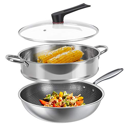 SHINEURI 12 Inch Stainless Steel Wok Diamond Pattern Nonstick Cookware Set with Lid & 12 inch Steamer Basket with Helper Handle Scratch Resistant Skillet for Gas Stovetop