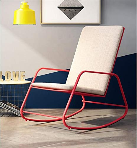 Haus Dekoration Indoor/Outdoor-Möbel Schaukelstuhl Erwachsene Rocker-Lounge-Stuhl faul einfach Casual Casual Sessel Balkon Garten Schaukelstuhl (Color : Red with Cushion)