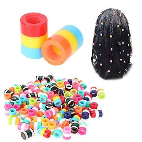 100 Pièces/Ensemble Perles de Tressage de Cheveux, Accessoires pour Cheveux, Accessoire de Cheveux Perles de Tressage Colorées Perles de Résine pour la Décoration de Cheveux Perles