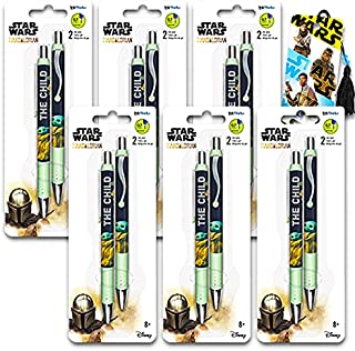 Star Wars Mandalorian Pens Value Bulk Pack - 12 Star Wars Baby Yoda Gel Pens with Bookmark (Star Wars School Supplies, Man...