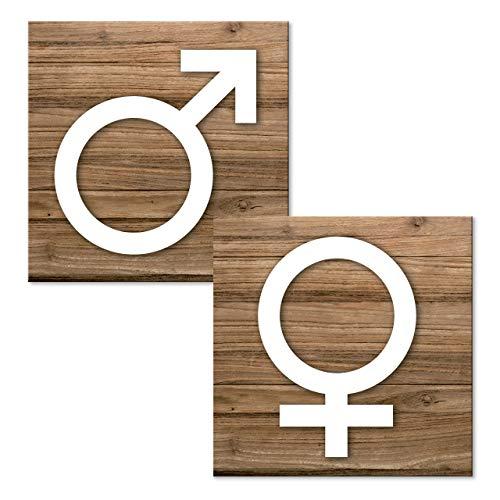 Logbuch-Verlag Juego de 2 placas de baño con diseño de hombre y mujer con símbolo de género, autoadhesivas, con aspecto de madera, color marrón y blanco