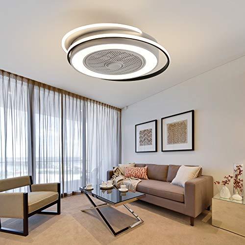 Ventilador de techo LED con luz invisible, creativo, ventilador de techo con mando a distancia regulable, ultrasilencioso, lámpara de araña, material: acrílico + metal