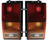 Evan-Fischer Tail Light Lens and Housing Compatible with 1984-1996 Jeep Cherokee Halogen Amber Clear & Red Lens Set of 2 Passenger and Driver Side