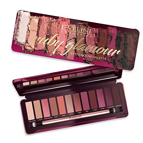 Eveline Cosmetics Ruby Glamour Lidschatten-Palette | 12 matte und schimmernde Töne | Stark pigmentierte Farben | Alltags und Abend Make-up | Spiegel und Pinsel enthalten