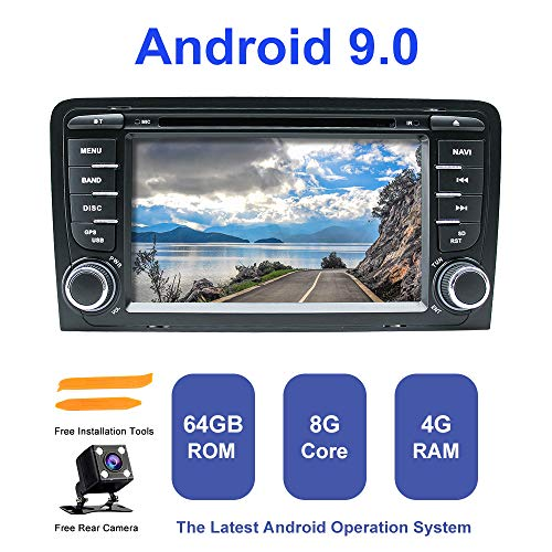 Android Autoradio Stereo, ZLTOOPAI Für Audi A3 S3 RS3 Doppel 2 Din 7 Zoll Android 9,0 Octa Core 4G RAM 64G ROM HD Digital Multi-Touchscreen Auto Stereo GPS Radio DVD-Player