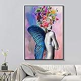 Wfmhra Cuadro Mural Abstracto Moda Mujer Plumas de Mariposa y Flores Pintura Moderna para el hogar Lienzo decoración de Belleza Cartel 50x70 cm sin Marco