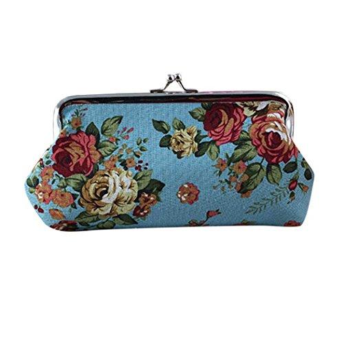 Vovotrade® Femmes Lady Rétro Vintage Fleur Petit Portefeuille Hasp Sac à Main d'embrayage Sac de Voyage Cosmétiques (Bleu)