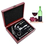 SumDirect Wine Opener Set, Lever-Arm Rabbit Corkscrew, Wine Accessory Sets with Bottle Opener, Foil Cutters, Aerator, Wine Stopper, Thermometers, Drip Rings, Spare Spirals and Dark Cherry Wood Box